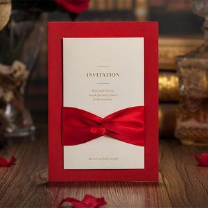 Rouge Creux Laser Cut Cartes Invitations De Mariage Carte Personnalisée Personnalisable Imprimable Avec Ruban Rouge Événement Fête Fournitures En Gros- 30pcs