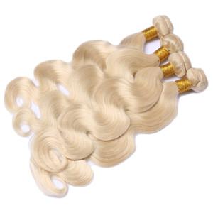 Top Qualität # 613 Brasilianische Reine Haarkörperwelle Blench Blonde Brasilianische Haarwebart 4 Bundles Platinum Blonde Menschenhaarverlängerung