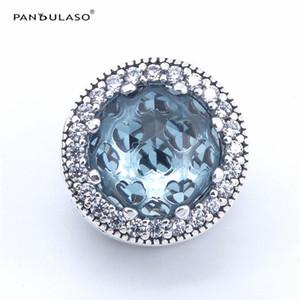Pandulaso Ghiacciaio Blue Radiant Hearts Beads per la realizzazione di gioielli Adatto Pandora charms Bracciali Donna DIY Argento 925 Gioielli 2017 Estate