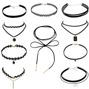 Colliers en velours vintage en velours gothique velours gothique Combinaison 4 6 8 10 / Ensembles Poirot Creative Black Lace Chokers