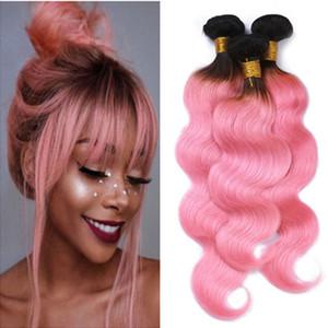 Virgin brasileira rosa ombre cabelo humano tece onda do corpo 3 pcs raiz escura 1B / rosa 2 tom ombre remy remy do cabelo humano feixes do corpo ondulado