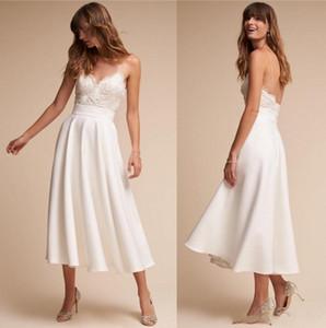2020 Nova Retro 1920 Tea Duração Vestidos de casamento BHLDN simples Um Verão Linha de Spaghetti Correias Sexy Backless vestidos de noiva casamento barato 340