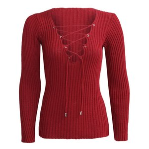 Gros-Sexy Automne Hiver Tricoté Pull Femmes Tops lacent Cross Sweatser Slim manches longues Tops Hot vente