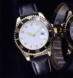 relogio masculino mens uhren Luxus kleid designer mode Schwarz Zifferblatt Kalender gold Armband leder Master Männlichen uhr 2017 geschenke liebhaber