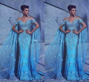 2017 Luxury Sexy Sirena Azul Vestidos de noche Off Hombro Apliques Crystal Tulle Hecho a medida Dicho Mhamad Vestidos de noche formales