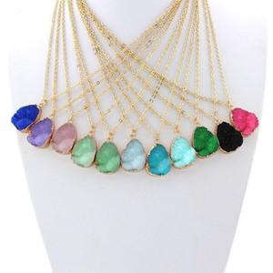 Caliente populares collar de la resina de cristal gotas de agua de acero inoxidable Geometría collares de diferentes colores 10 Mejor para Lady Mix Colors