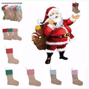 Venda quente 12 * 18 polegada Lona de Natal Sacos De Presente Da Lona de Natal Xmas Decoração de Natal Meias Decorativas Meias Sacos