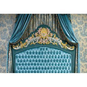 7x5ft barroco copetudo cabecero cama fondo de la foto cortina azul habitación interior papel pintado estudio apoyos de la cabina boda telón de fondo