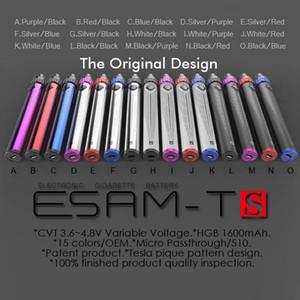 100% original 1600 mAh ESAM-Ts Bateria 3.6-4.8 V Variável de Tensão USB Passthrough Bateria Spinner 3 bateria de cigarro eletrônico DHL
