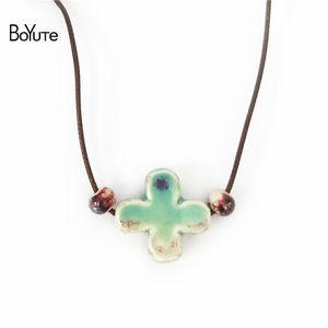 BoYuTe новый 5 шт. китайский фарфор Керамический кулон крест ожерелье женщины этнические ювелирные изделия женские аксессуары независимая упаковка