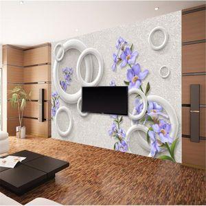 feiffan papel de parede 사용자 정의 초상화 벽지 따뜻한 패션 보라색 꽃 동그라미 3d 배경 벽 papier peint wallpaper