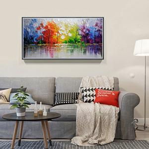 Hermosos colores de los árboles pintados a mano de alta calidad Decoración moderna de la pared Paisaje abstracto Árboles Arte Pintura al óleo sobre lienzo Multi tamaños Ab22
