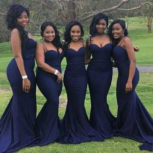 Elegante Afraic Spaghetti Strap Sirena Vestidos de dama de honor 2019 Sexy Sweetheart Sweep Train Satin Vestidos de fiesta de boda largos DTJ