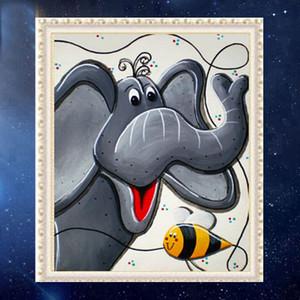 DIY Partial 5D Diamond Embroider The Cartoon Cute Elephant Round Diamond Painting Cross Stitch Kits Diamond Mosaic Home Decor