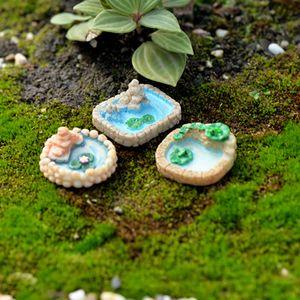 3pcs Pool Vintage Pond Fairy Garden Miniatures Resin Craft Terrarium Figurines Bonsai Tool Gnomes Micro Landscape Statues Dollhouse Ornament