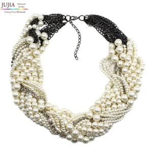 2017 nuova moda Z colletto della collana della collana del pendente chunky di lusso choker collana di dichiarazione della perla simulata
