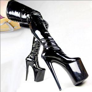 Moda Sexy Donne 20 cm Bottes Femmes Tacchi Alti Piattaforma Cavallo Stivali coscia Nero Erotico Boot Uomo Fetish Scarpe Botas Feminina