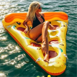 Summer Water Sports Inflatable Floating Tubes Floor Inflatable Swimming Float Air Mattress Swim Pool Beach Yard Pizza Pattern DHL Fedex