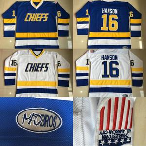 # 16 Jack Hanson Charlestown Chiefs Jersey, Hanson frère Slap Shot hommes 100% Cousu Broderie Film Hockey Maillots Bleu Blanc