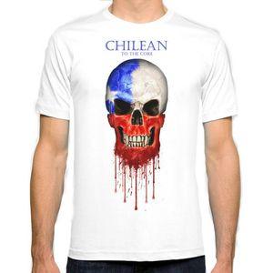 Bandera del cráneo de Chile Nueva Moda Hombre Camiseta Algodón O Cuello Para Hombre de Manga Corta camiseta para Hombre Tops Tees Al Por Mayor