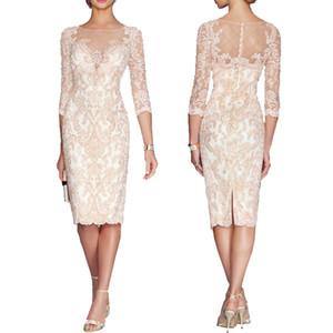 Bateau Sheath Lace Mother Of The Bride Dresses Plus Size 2021 Formal 3 4 Sleeve Knee Length Sheer Neck Applique Mother Groom Dresses