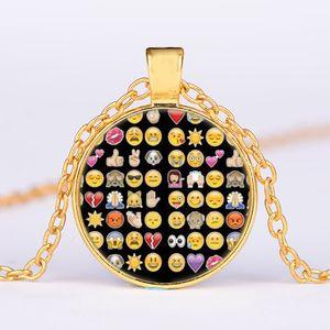 Ожерелье золота Emoji серии Подвеска Heartbeat лица Стекло кабошон Gemstone ожерелье Заявление изящных ювелирных изделий Xmas подарков