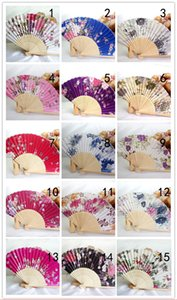 Wedding Favors Gift Elegant Flower Silk Hand Craft Fans Sakura Cloth Folding Craft Fan Bamboo Fan Cloth Wedding Hand Fans+DHL Free Shipping