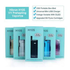 Authentic Hibron vaporizador H10S Pré-aquecimento OLED 10 W Box Mods Óleo Grosso CE3 BUD CO2 0.8 ml Cartuchos Atomizador O pen Mystica Kits DHL