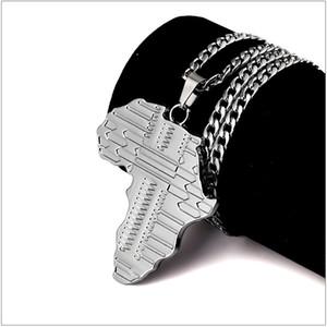 Mapa africano estilo Hip Hop Style Plateado Colgante Collares de gargantilla para hombres y mujeres envío gratis