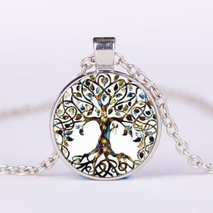 Lega d'epoca Living Tree of Life Cabochon in vetro con pietra naturale Collana pendente in bronzo Collana Accessorio gioiello