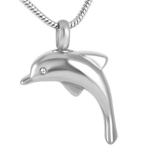 IJD9138 Nueva Moda chapado en platino de acero inoxidable Dolphin Colgante Collar Cremation Jewelry urnas funerarias para ceniza color plata