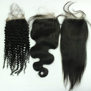 Lace Encerramento Bleach nós, 3 vias parte parte do meio Encerramento, Front Cheap Lace cabelo humano brasileiro Hetero / Kinky Curly / onda do corpo de Encerramento