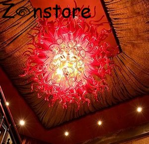 Red Glass Chandelier-High Ceiling Decor Red Glass Pendelleuchten 100% mundgeblasenem Glas Kronleuchter Beleuchtung