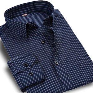 Плюс размер 5XL осень Новый 2017 мужчины полосатый Платье рубашка формальная мода с длинным рукавом бренд бизнес мужчины повседневная рубашка обычная Fit