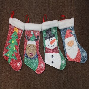 4 Design Doppel Pailletten Mermaid Weihnachtsstrumpf Weihnachtsschmuck Geschenk-Beutel Weihnachtsmann Schneemann-Weihnachtsbaum-Party Supplies WX9-97