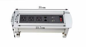 2017 Çok Fonksiyonlu Telefon USB Otel Toplantı Masa / Masaüstü Manuel Çift RJ45 Flipping Rotasyon Soket ile AB / ABD Plug Anahtarı