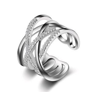 Anel de prata Micro Pave Pequenas Pedras Multicamadas Rosa de Ouro Branco Coreano Anéis de Jóias Japonesas para As Mulheres