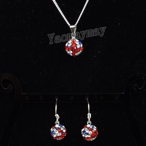 UK Flag Disco Ball Pendant Earrings And Silver Tone Necklace Rhinestone Jewelry Set 10 Sets Wholesale