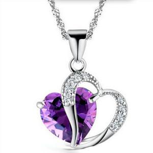 Romantisches Mehrfarbenkristall Liebes-Herz-Anhänger Günstige Halsketten-Legierung Kette für Frauen Geschenk Art und Weise Damen Schmuck