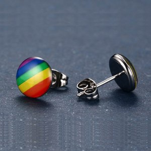 Orecchino a perno arcobaleno colorato di moda per gioielli da donna in acciaio inossidabile 316L gioielli da uomo in acciaio inossidabile 316L