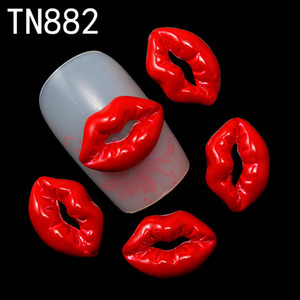 Atacado-Blueness 10 pc 2015 Moda Red Lips Alloy Glitter 3d Decorações Da Arte Do Prego Com Pedrinhas Ferramentas, Alloy Encantos Do Prego, TN882