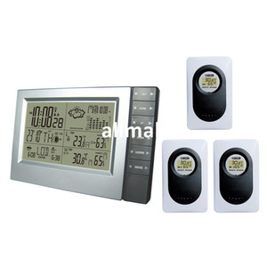 Freeshipping 433MHz RF RCC Wireless Weather Station with Digital Alarm Clock Barometer Indoor Outdoor Temperature Humidity 3 Transmitters