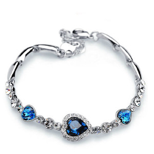 Stylish Women New Fashion Ocean Blue Sliver Plated Crystal Rhinestone Heart Charm Bracelet Bangle Christmas Gift Jewelry
