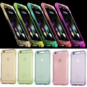 Chamando Light Up Case para Iphone 8 7 6 Plus Ultra Fina TPU LED piscando Iluminação Incoming Reminder tampa do telefone para Samsung S8 S7 Nota