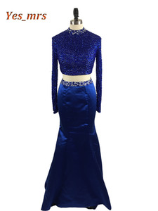 2017 New Two Pieces Prom Dresses High Collar Crystal Beaded Long Mermaid 2 Pieces Open Back Royal Blue Formal Party Dress Evening Gowns