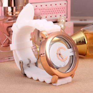 Moda donna Ragazze Scava fuori quadrante silicone cinturino in quarzo orologio da polso al quarzo 6108G