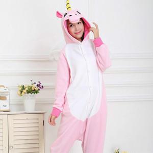 Unisex Yetişkin Kış Unicorn Pijama Hayvan Pijama Setleri Seksi Kapşonlu Gecelik Flanel Pijama Kadın Sevimli Karikatür Pijama