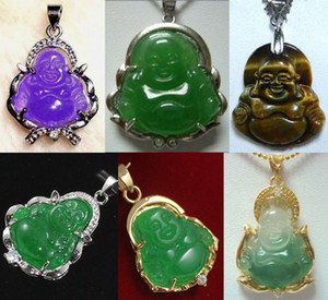 Toptan ucuz 6 renk! İnce yeşil yeşim / kaplan gözü taşı Mutlu Buda / Guanyin kolye korusun