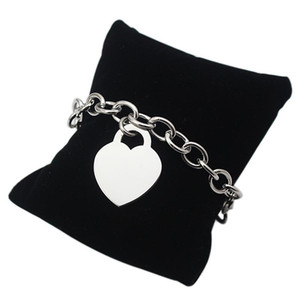 Famosa marca pulseras de eslabones de cadena Amor corazón bloqueo cadena de enlace pulseras fornidas brazaletes para mujeres hombres puede ser grabado nombre en
