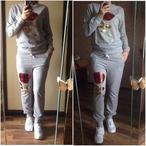 The new 2017 gray dress casual sport two suits embroidered clothes sequins sportswear